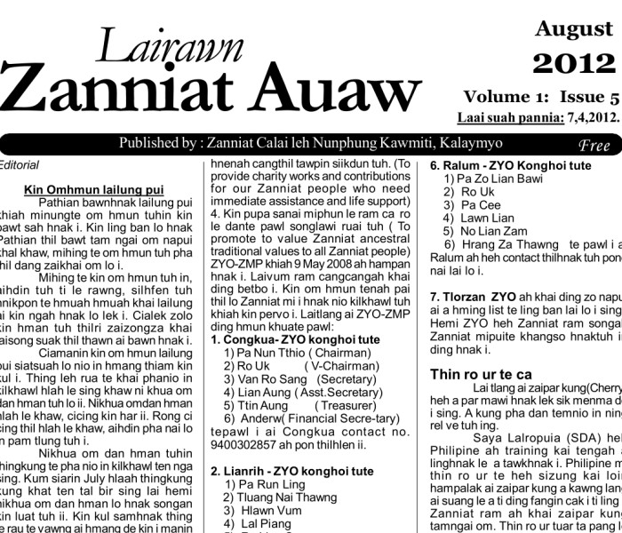 Lairawn Zanniat Auaw: Vol-1 Issue-5 Aug 2012