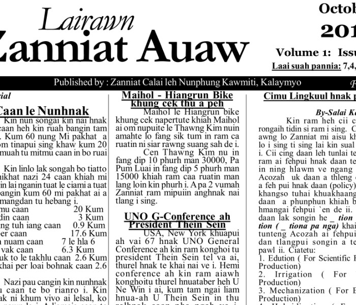 Lairawn Zanniat Auaw Vol-1 Issue-7 Oct 2012