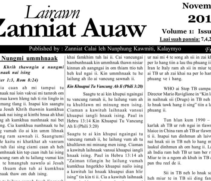 Lairawn Zanniat Auaw Vol-1 Issue-8 Nov 2012