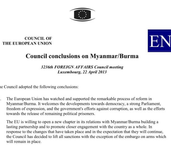 EU Council conclusions on Myanmar/Burma 22 April 2013
