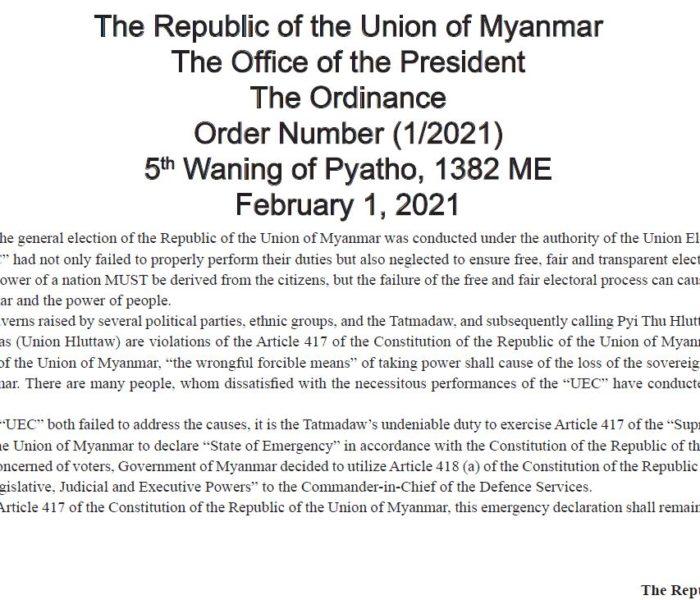 Tatmadaw in Kawlram ukhnak camkhat lang thu Vice President  Myint Swe in phuang